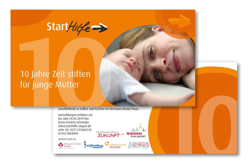 starthilfe siegen - Zeit stiften für junge Mütter Einladung 10 Jahre